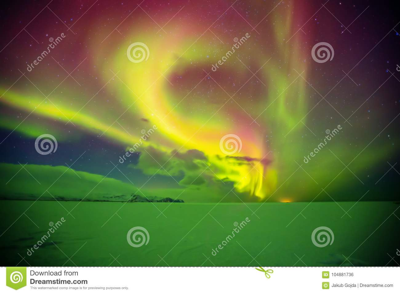 Download Beautiful Aurora Borealis In Iceland, Shot In Early Winter Perio Stock Photo - Image of borealis, landscape: 104881736