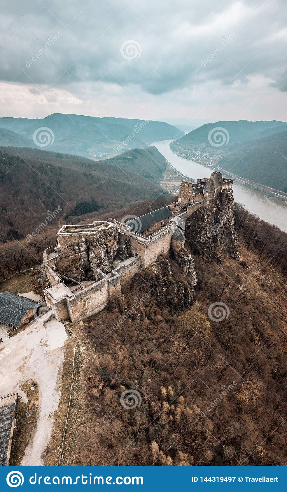Aggstein Castle with Danube on the background