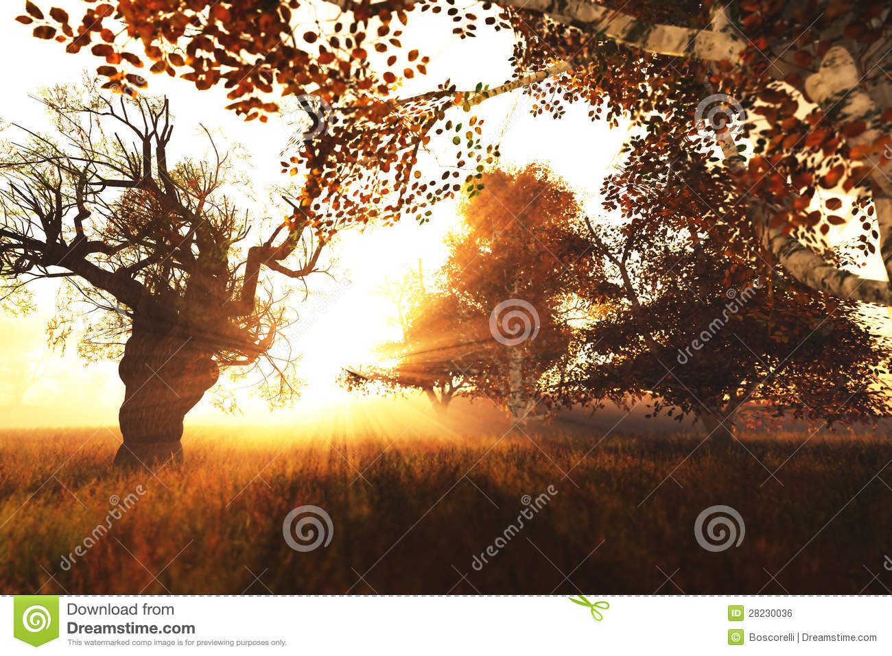 More similar stock images of 3d landscape with fall tree - Beautiful Autumn Forest Nature Scene 3d Render 1 Royalty Free Stock Image