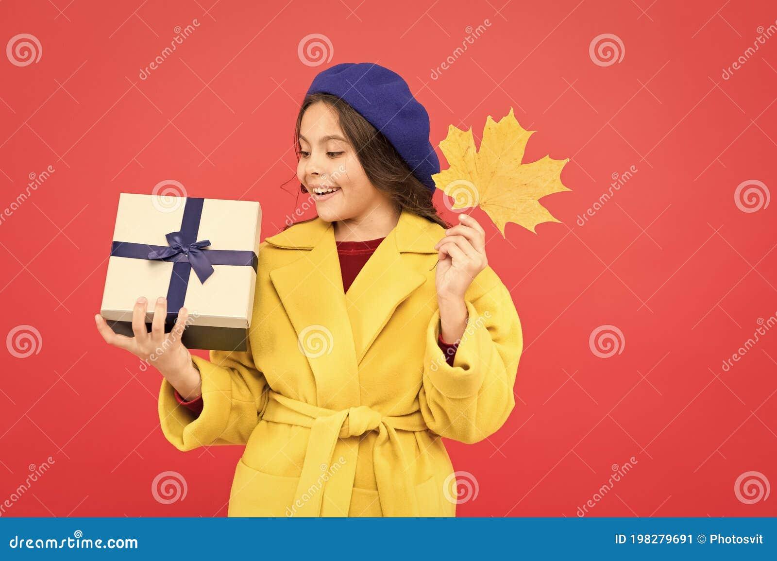 So Beautiful. Autumn Kid Fashion. Happy Small Girl With Maple Leaf ...