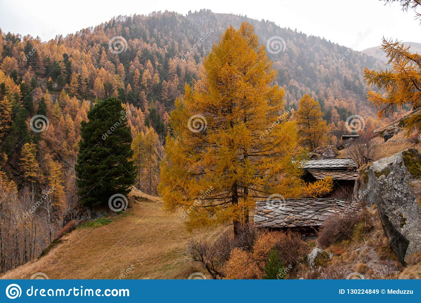 Beautiful autumn landscape with some old chalets in Zermatt area