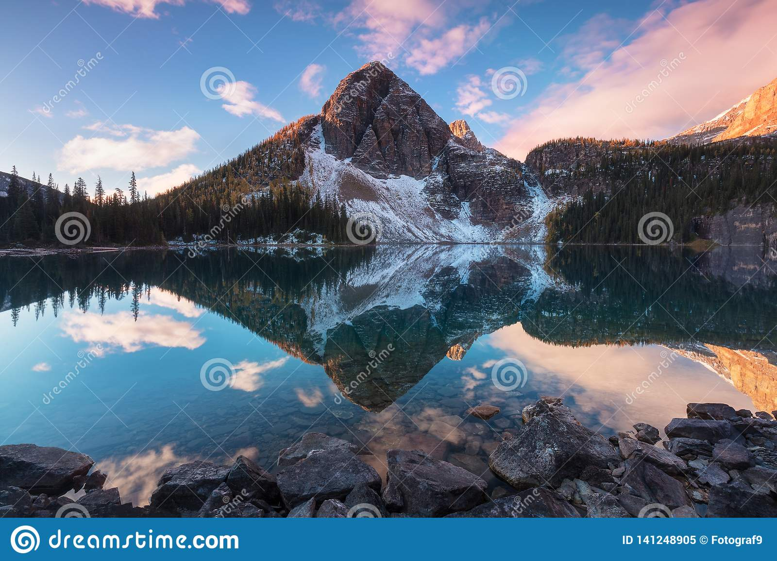 Beautiful Autumn Mountain Views To The Egypt Lake In Banff National Park In The Rocky Mountains Of Alberta Canada Sunrise Stock Image Image Of Long Clouds 141248905