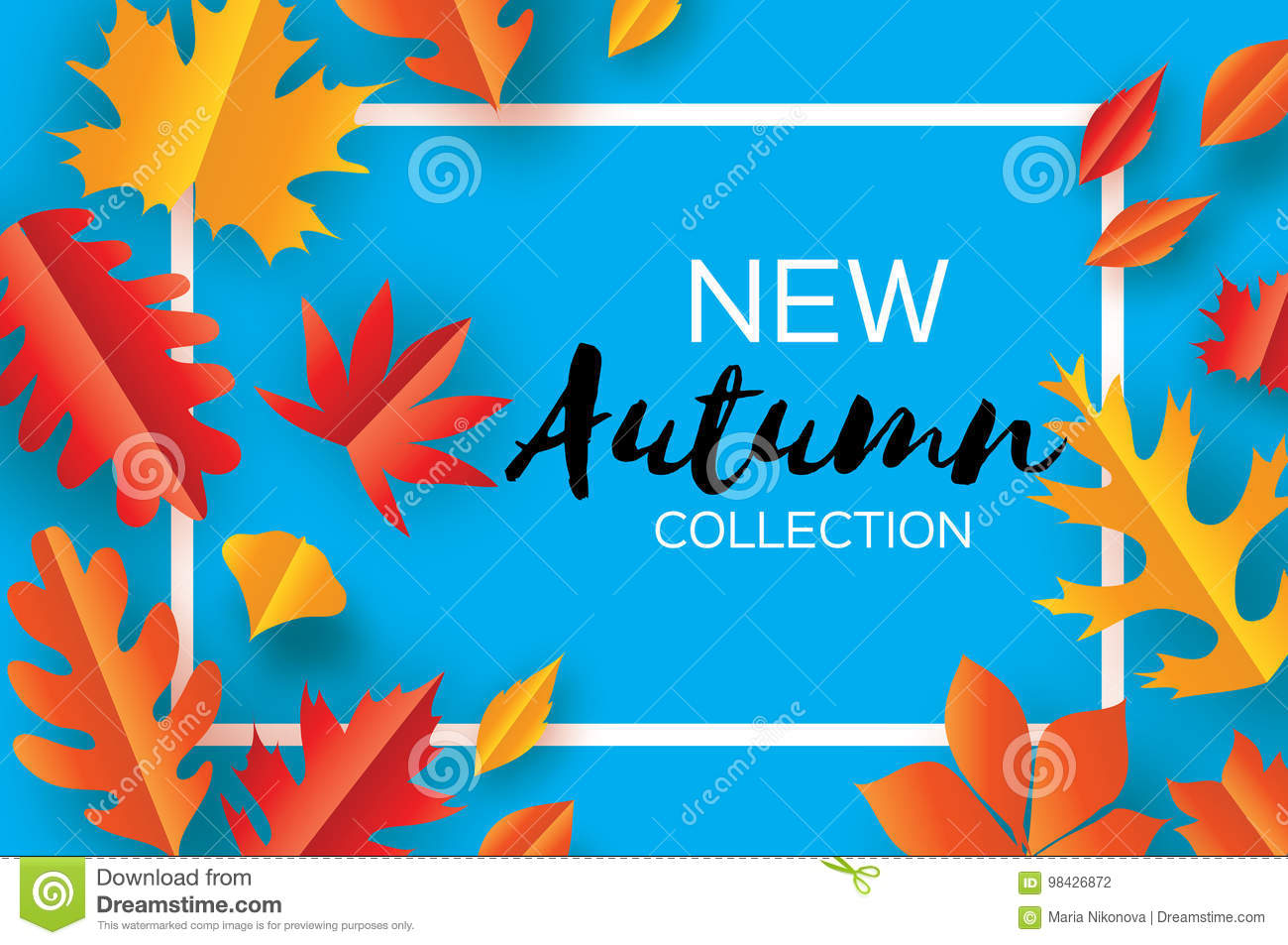 Beautiful Autumn paper cut leaves. Hello Autumn. September flyer template. Rectangle frame. Space for text. Origami