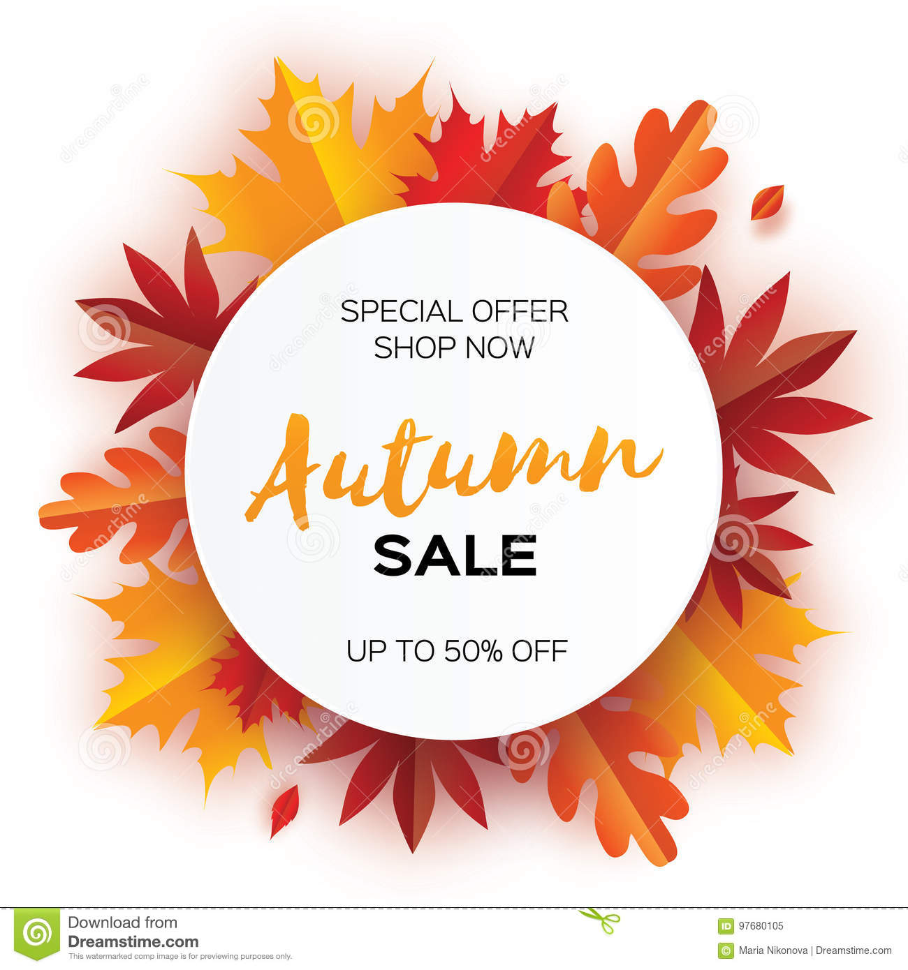 beautiful autumn paper cut leaves sale september flyer template