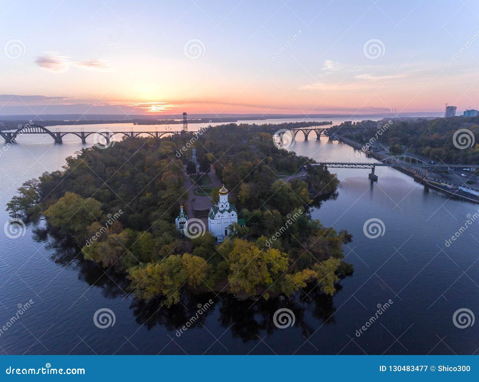 Aerial Flight over the Christian Church in the Monastic island, Dnepr City, Ukraine Dnipro, Dnepropetrovsk
