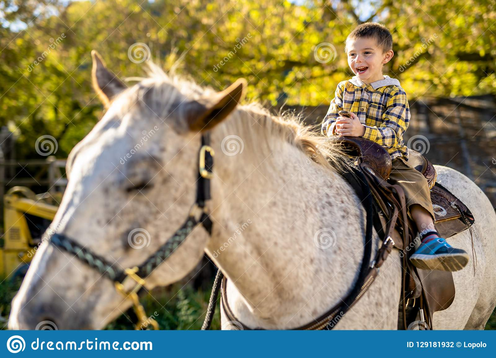 In A Beautiful Autumn Season Of A Young Boy And Horse Stock Photo Image Of Farm Autumn 129181932