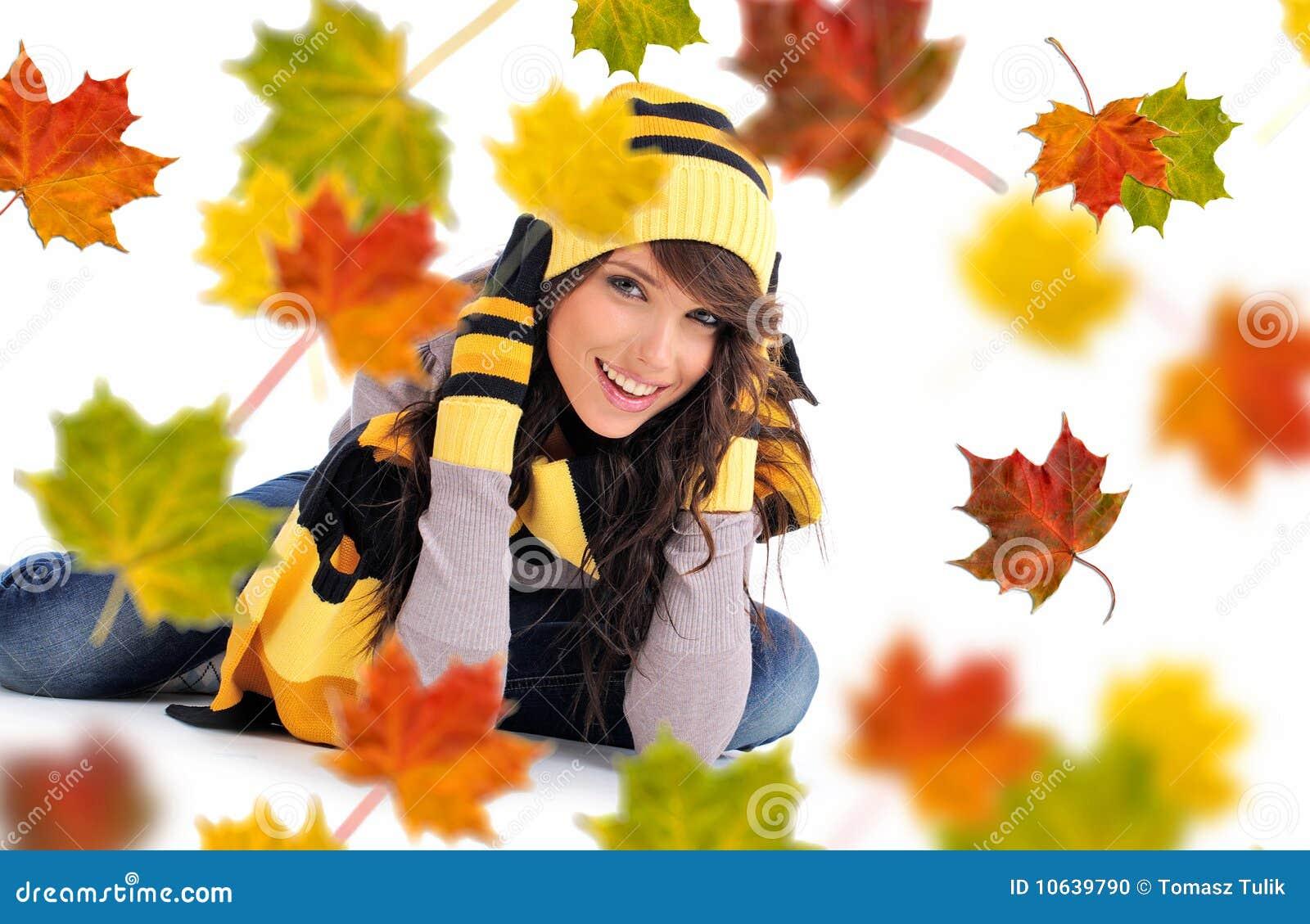Beautiful autumn woman.