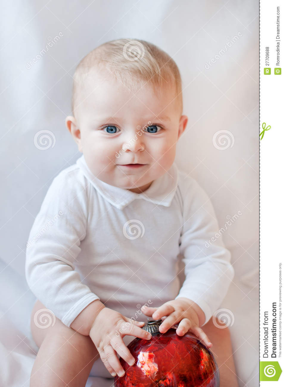 2040833f8e6 Beautiful Baby Boy Playing With Christmas Balls Stock Photo - Image ...