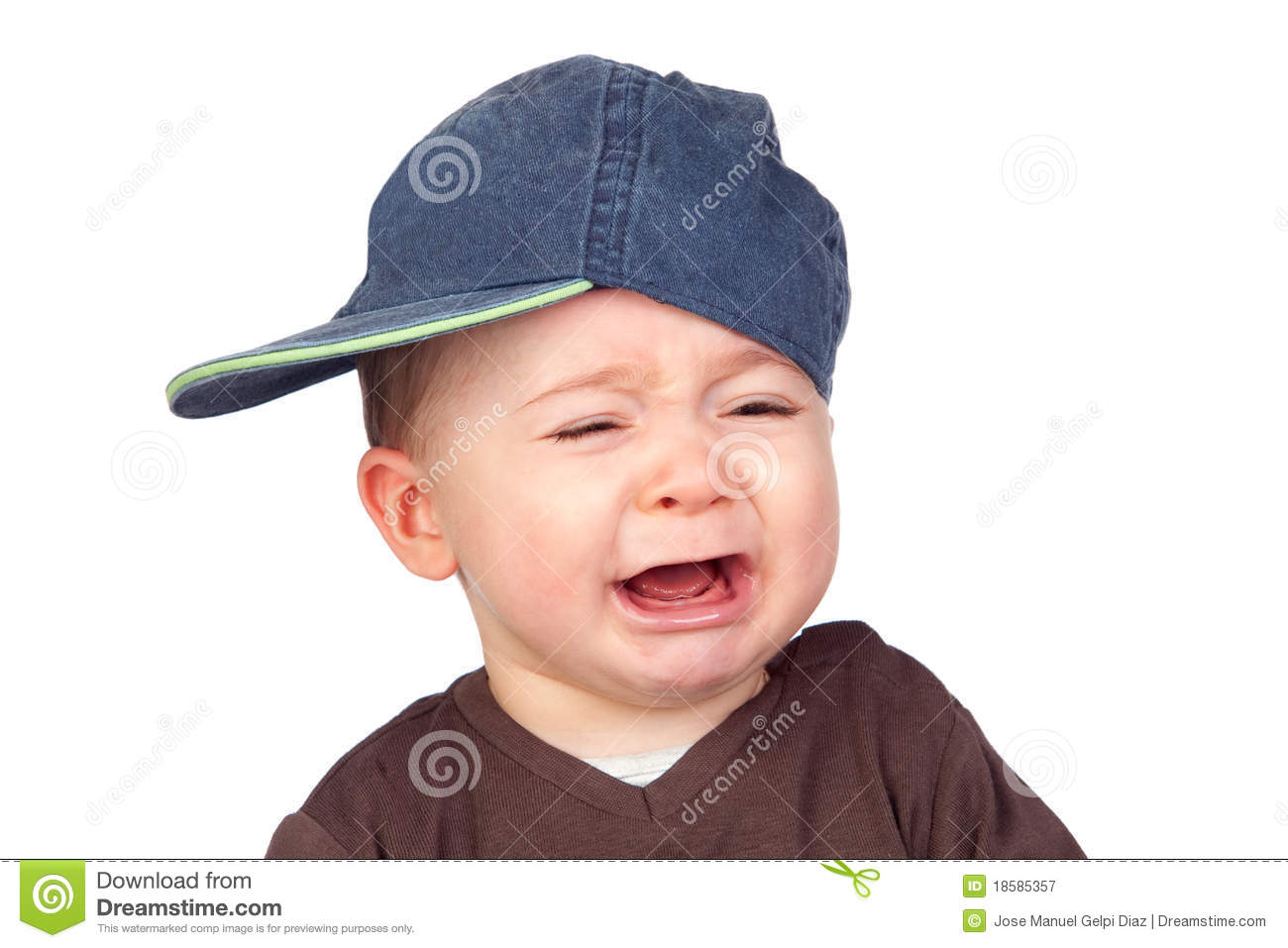 Beautiful baby crying with a cap royalty free stock photography 9f0d65f052a