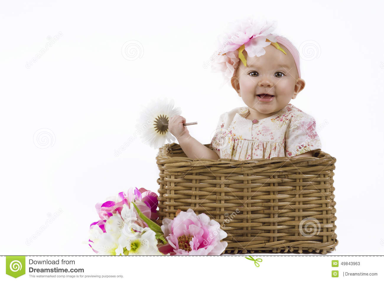 1cdfc383b Beautiful Baby Girl In A Basket Stock Image - Image of mother ...