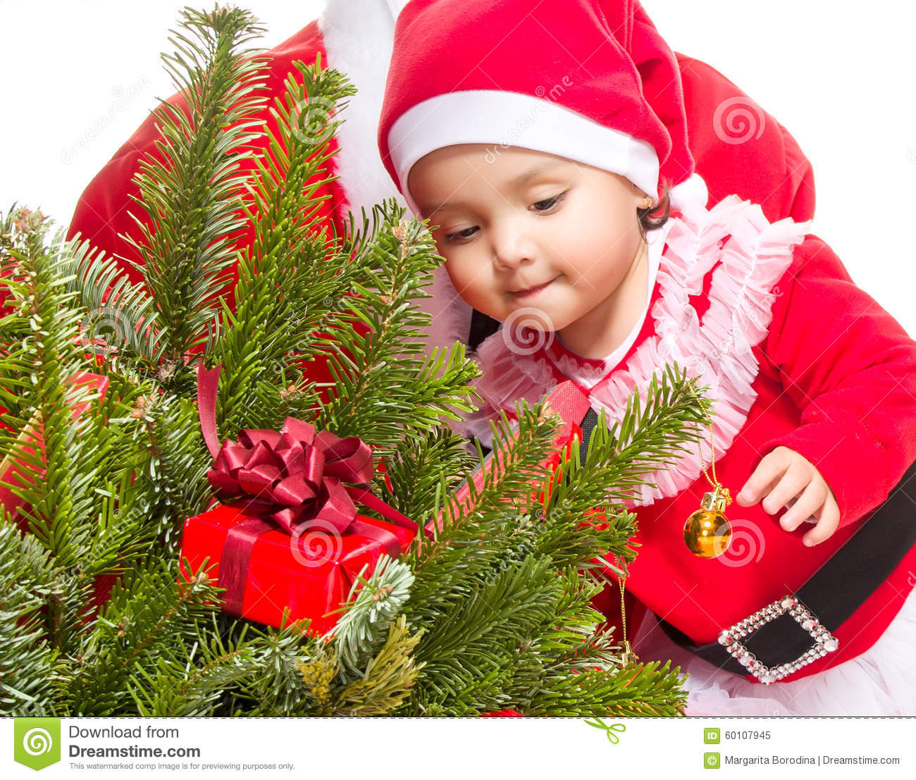 Baby Christmas Trees: Baby Girl Front Christmas Tree Stock Images