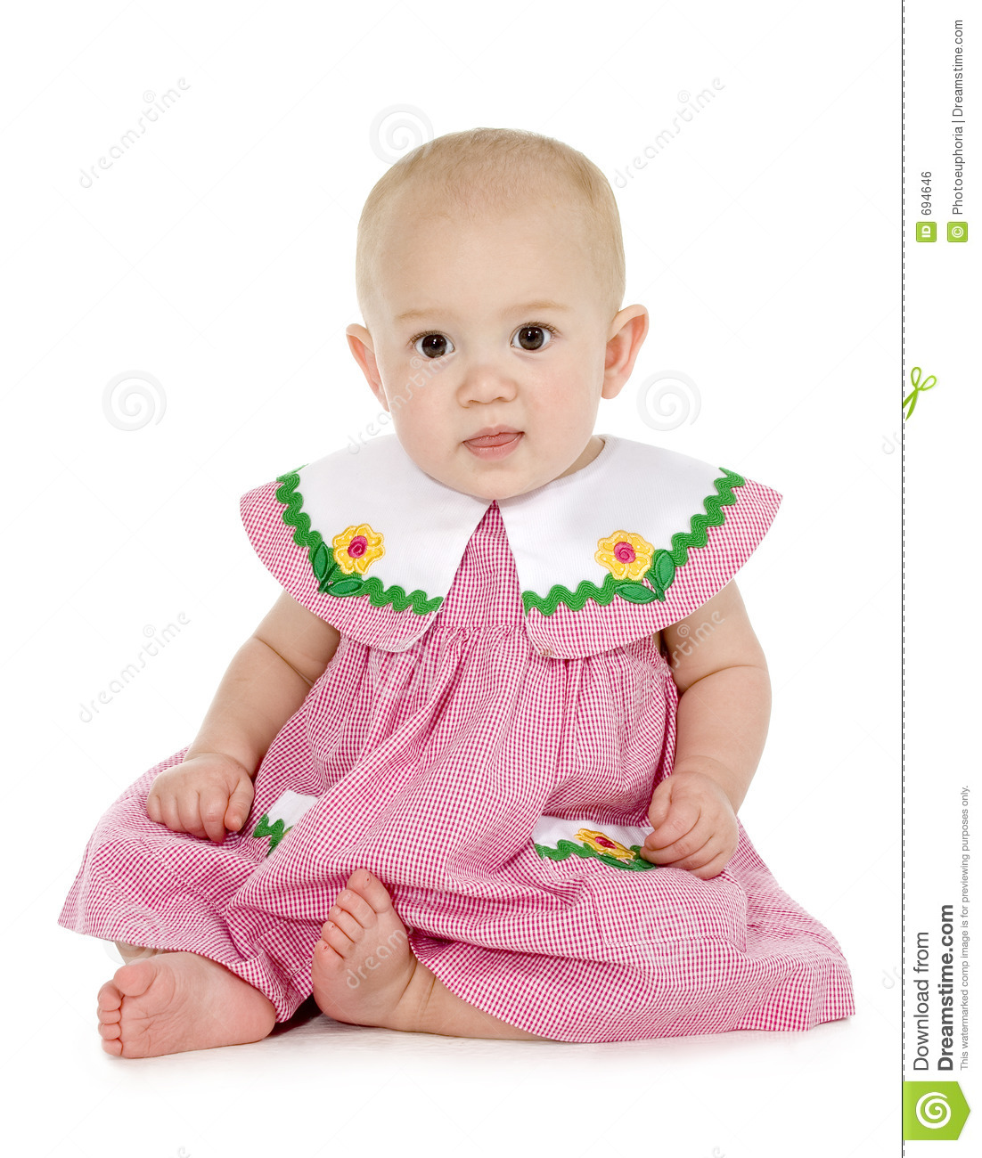 Beautiful Baby Girl In Red And White Dress Royalty Free ...