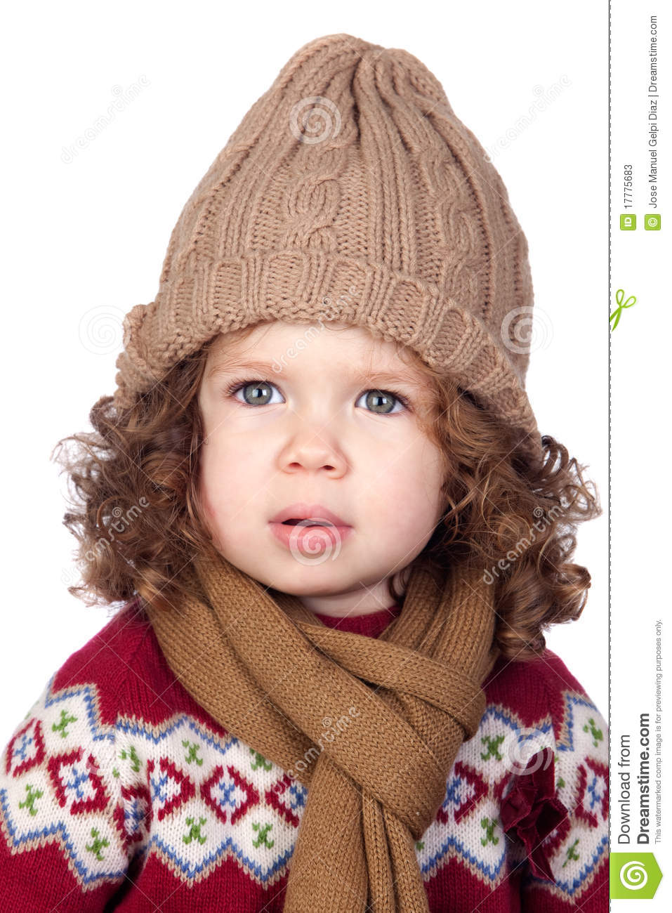 605868d5e01a Beautiful Baby Girl With Wool Cap Stock Image - Image of hair ...