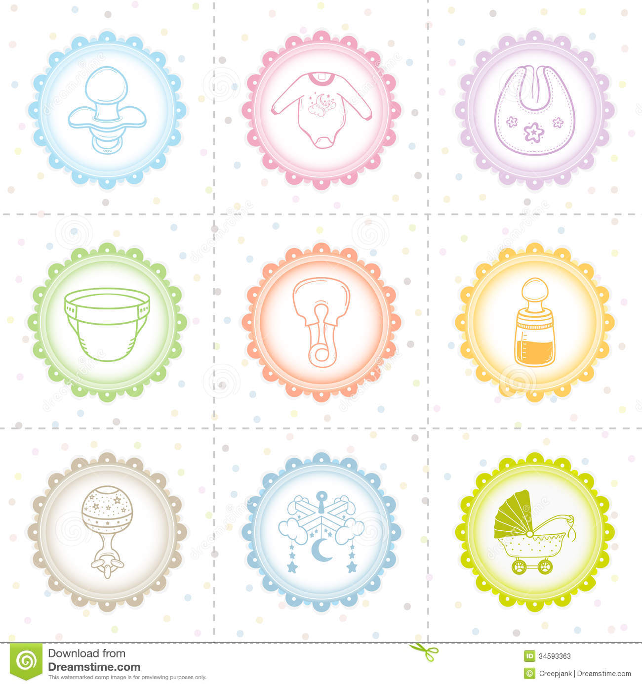 Beautiful Baby Icon Collection Stock Illustration Image