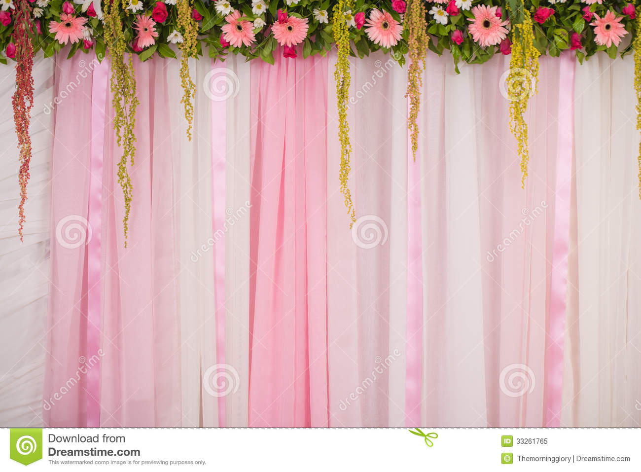 Beautiful Backdrop Flowers Arrangement For Wedding Ceremony Stock ...
