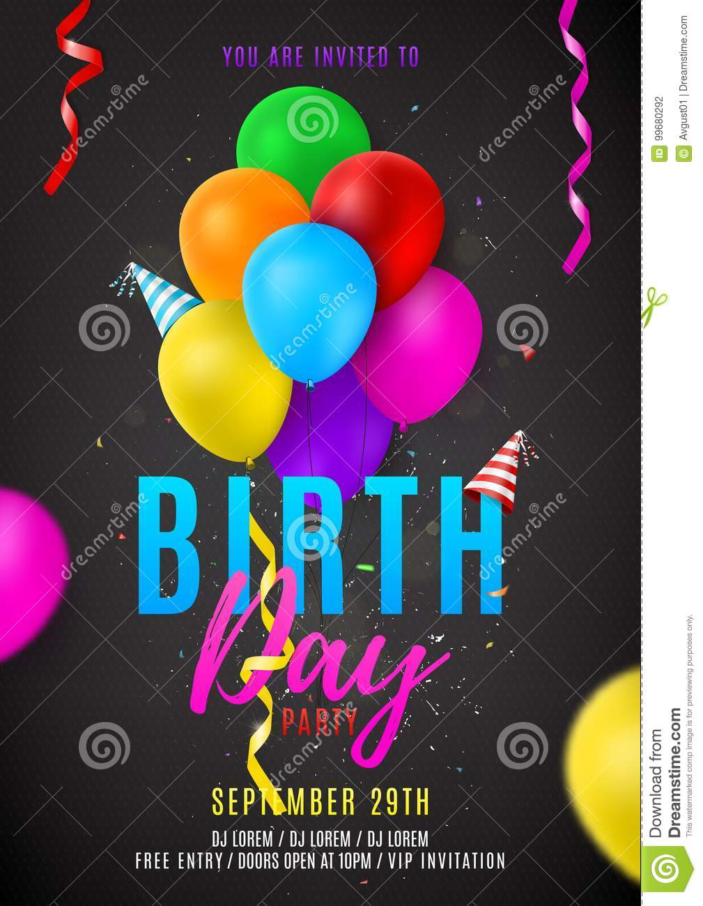 Flyer Template For Birthday Party Stock Vector