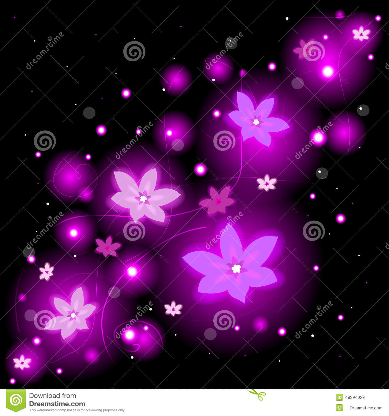 Beautiful Background With Glowing Flowers And Sparkles Stock Vector