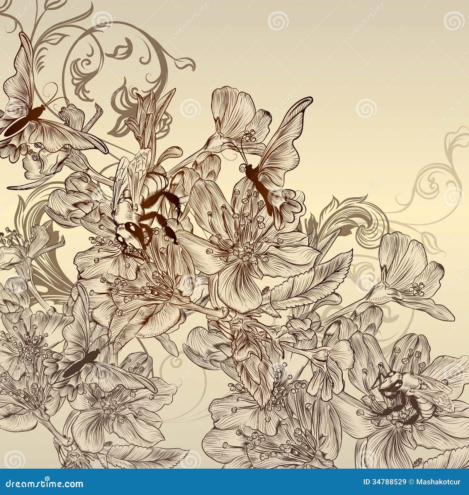 Beautiful background with hand drawn flowers stock vector beautiful background with hand drawn flowers mightylinksfo