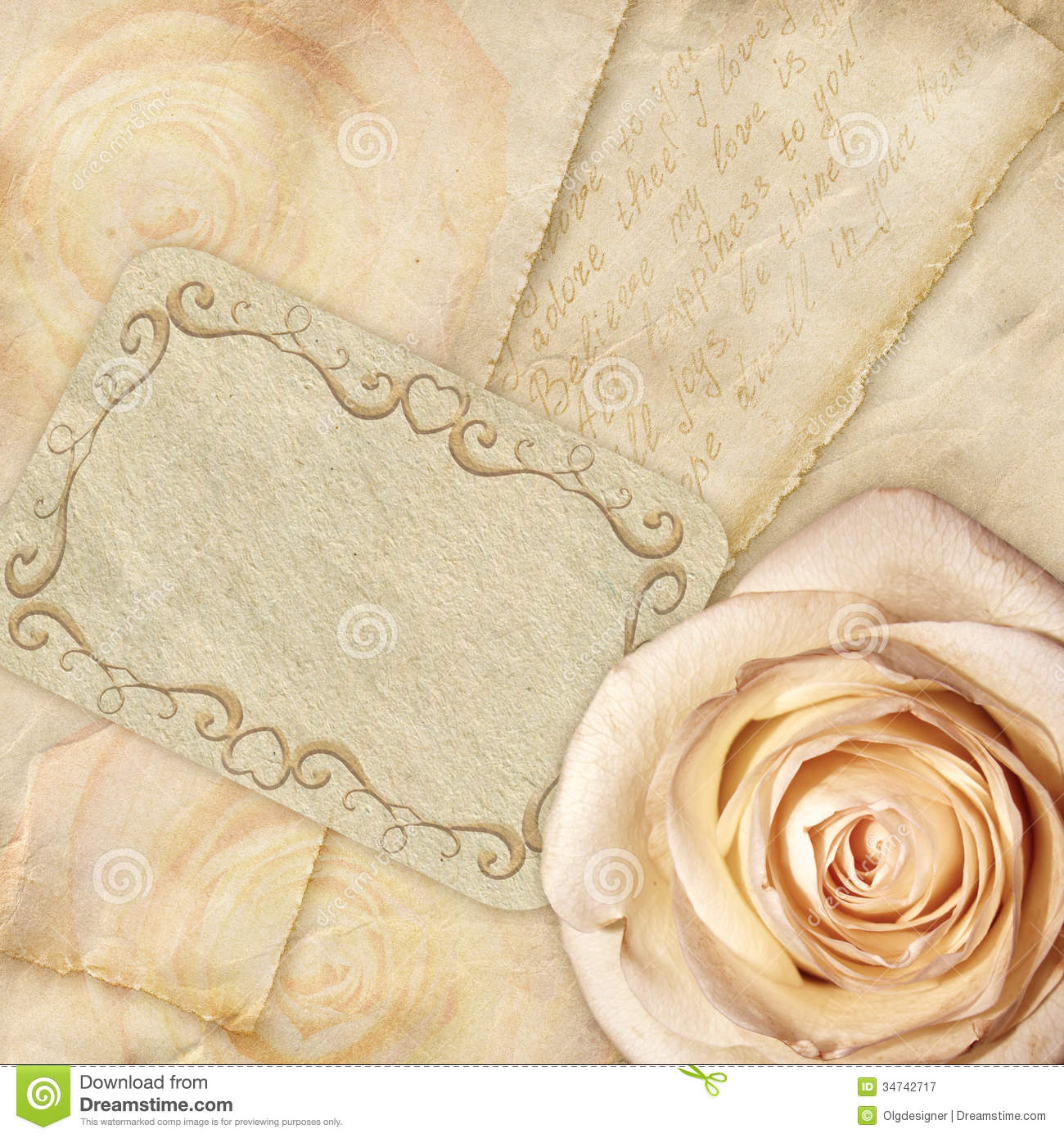 Beautiful Background Rose And Letters Royalty Free Stock ...