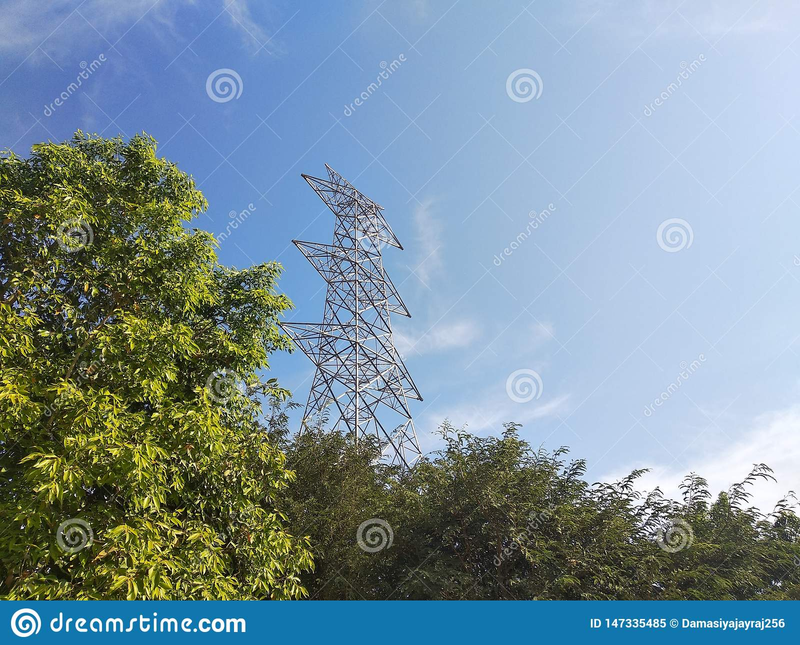 Beautiful background with tower and trees