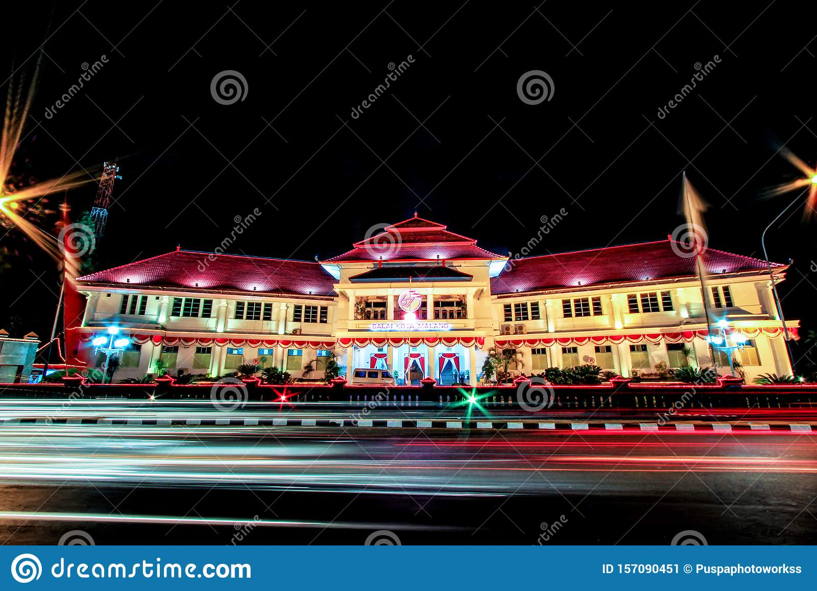 Beautiful Balai Kota Malang City Hall Malang Tugu Square Or Km 0 Malang With Beautiful Park At The Night Stock Image Image Of Construction Centuries 157090451