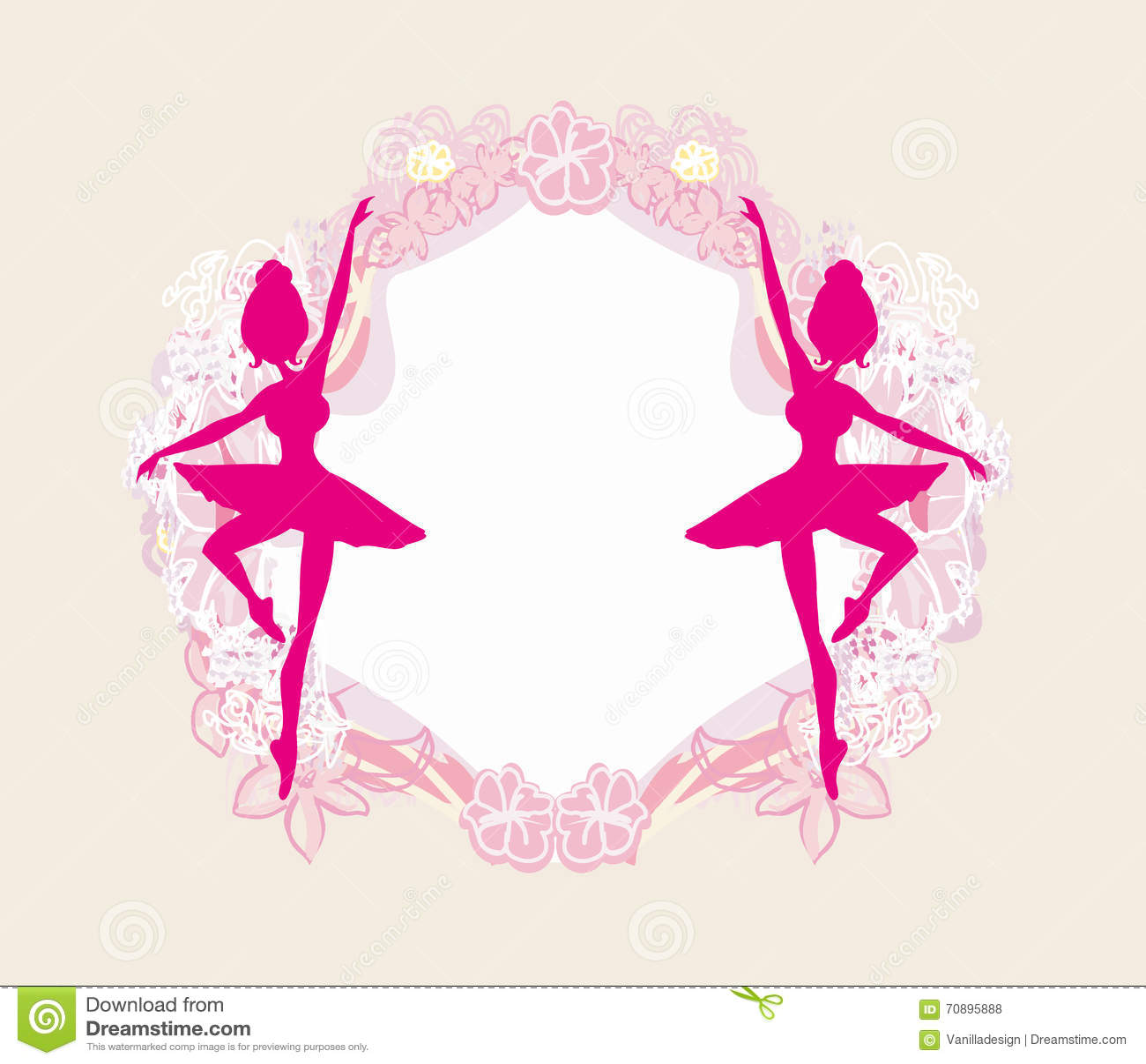 beautiful ballerina vintage frame stock vector image 70895888