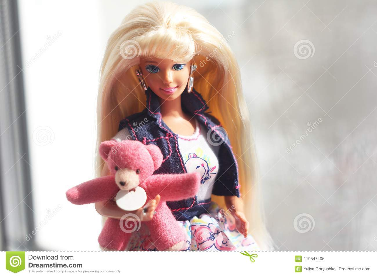 A Beautiful Barbie With White Hair Stylish Doll Editorial Image