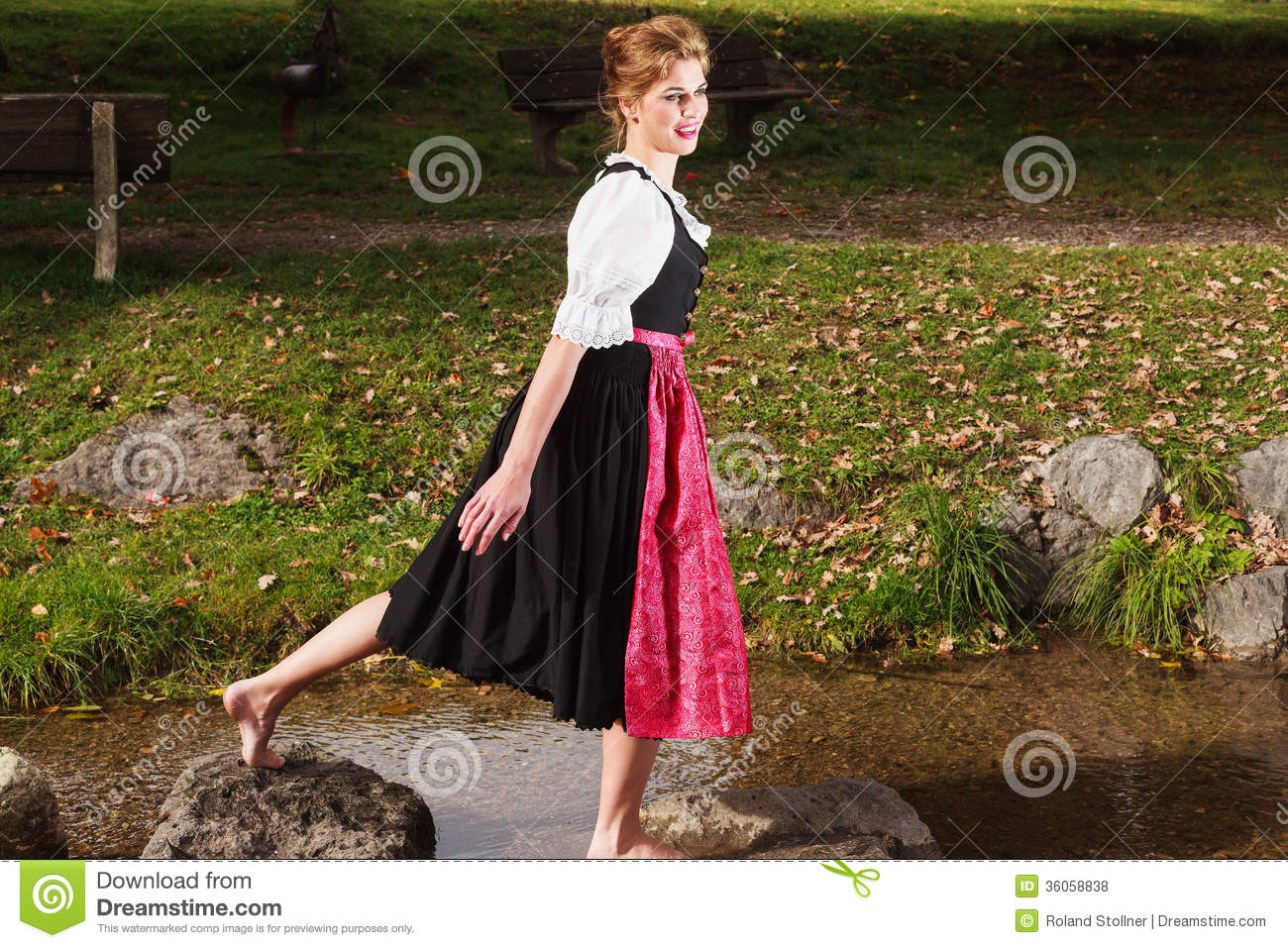 https://thumbs.dreamstime.com/z/beautiful-barefoot-woman-dirndl-playing-mountain-stream-traditional-german-as-enjoys-nature-36058838.jpg