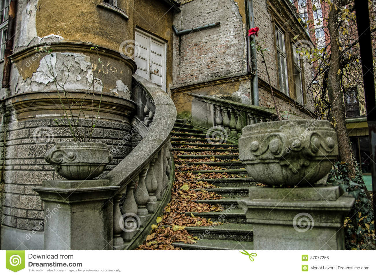 Beautiful baroque staircase in an abandoned house in Belgrade