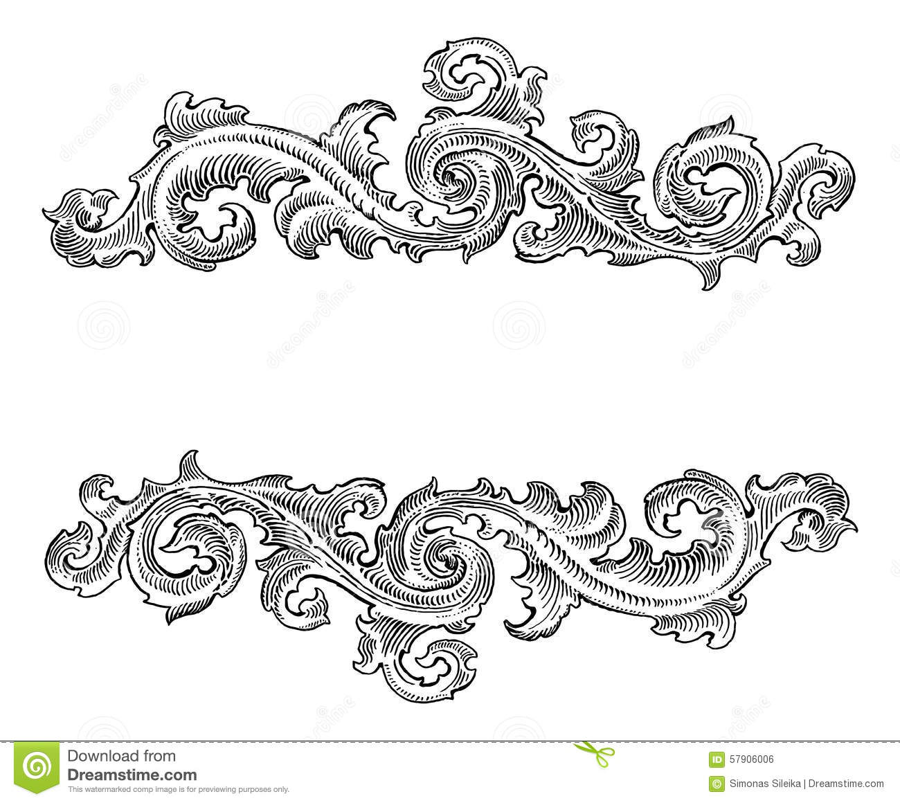 Beautiful baroque style decorative calligraphy floral