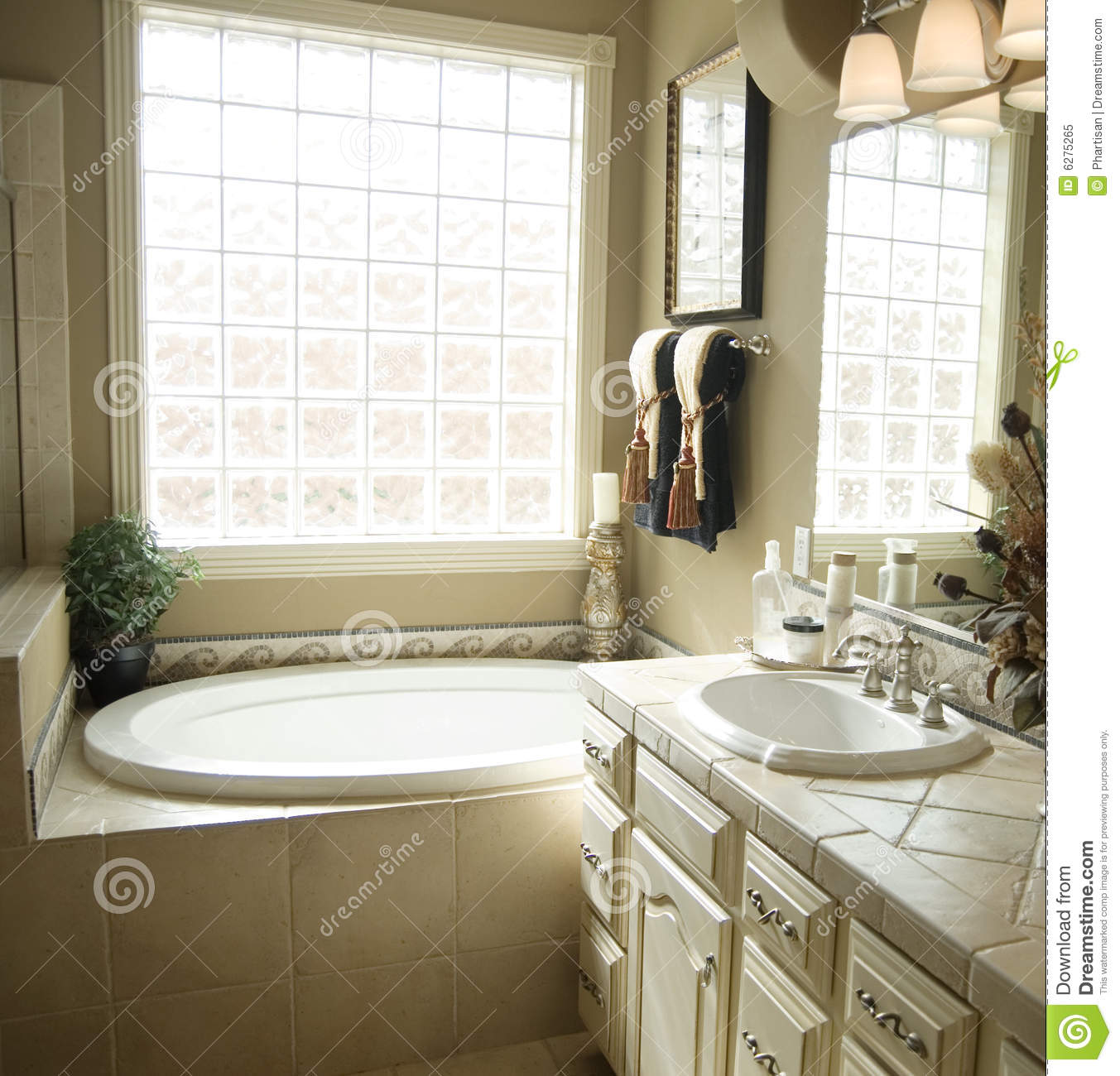 Beautiful bathroom interior design royalty free stock for Beautiful bathroom decor