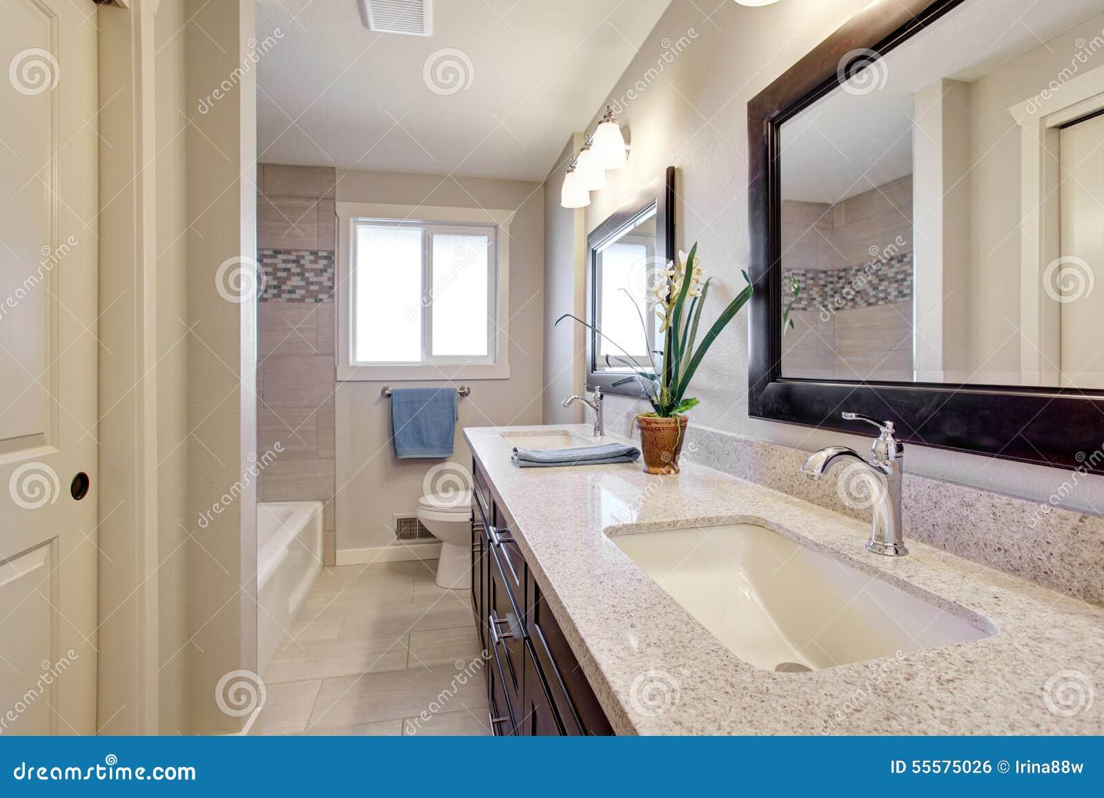 Beautiful Bathroom With Tile Floor Stock Photo Image