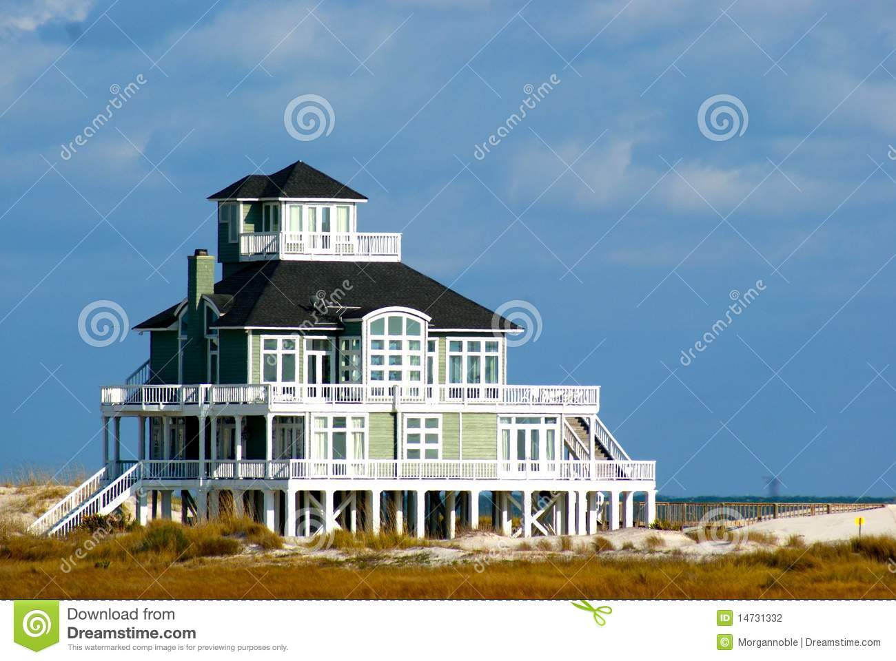 Beautiful Beach House On Shore Stock Photography Image