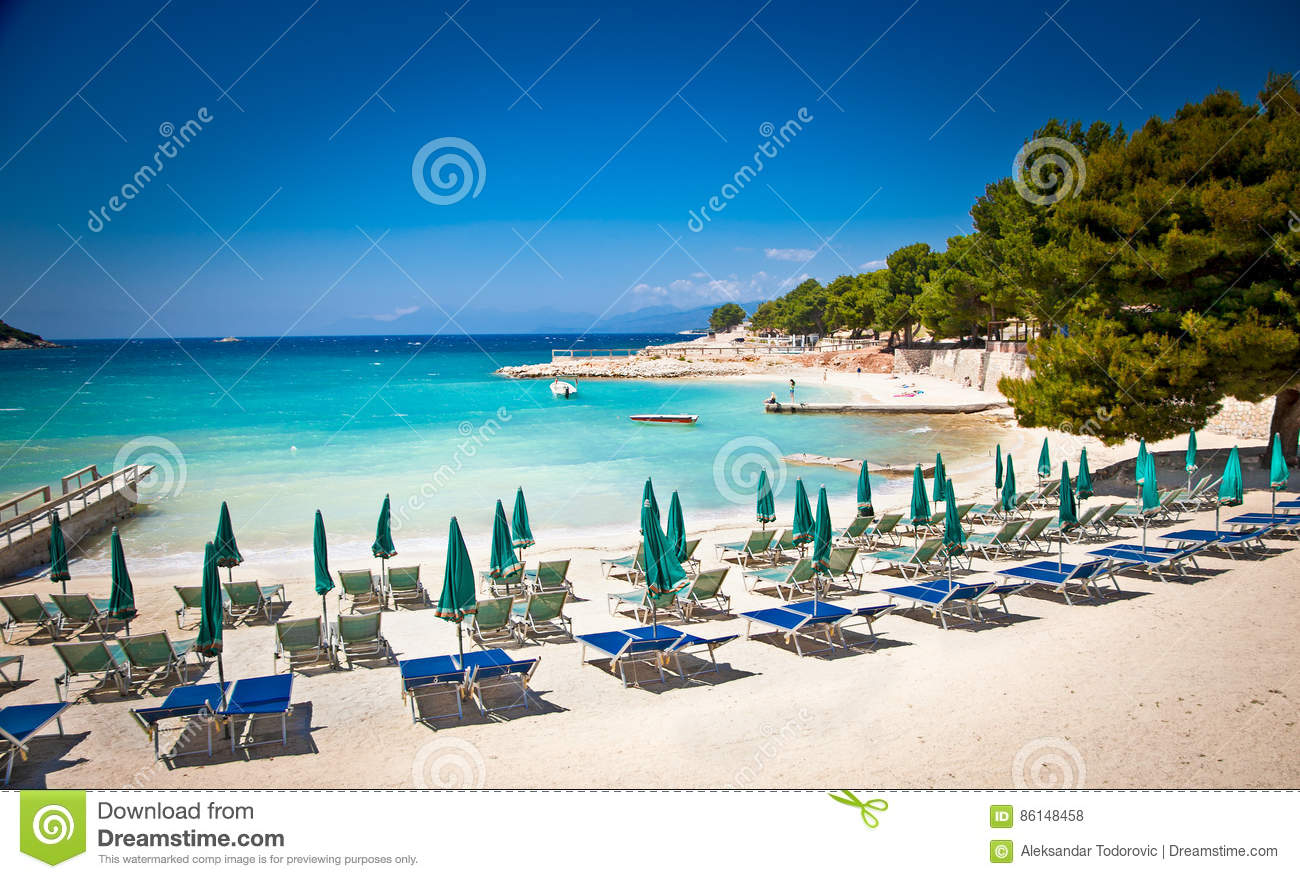 beautiful beach in ksamil albania stock photo image of deckchair albania 86148458. Black Bedroom Furniture Sets. Home Design Ideas