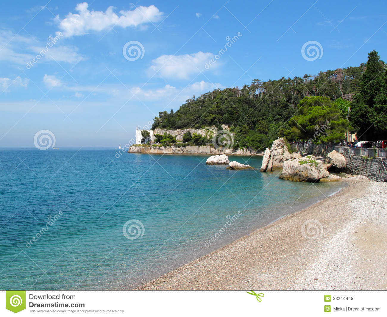 Beautiful beach near miramare castle stock photo image for Miramare beach