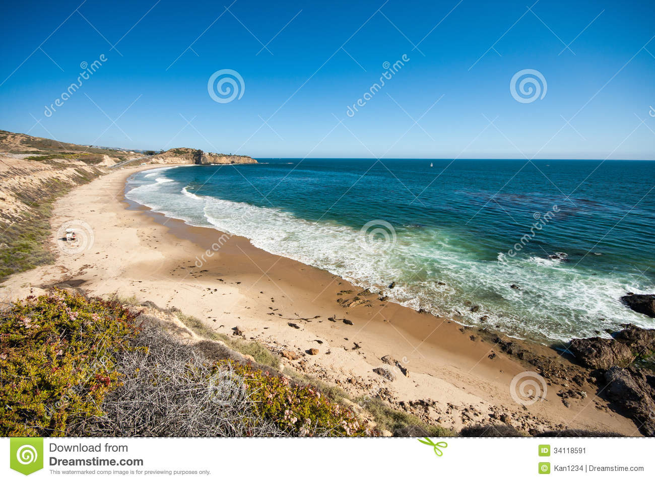 Beautiful beach in orange county ca stock image image for Pretty beaches in california