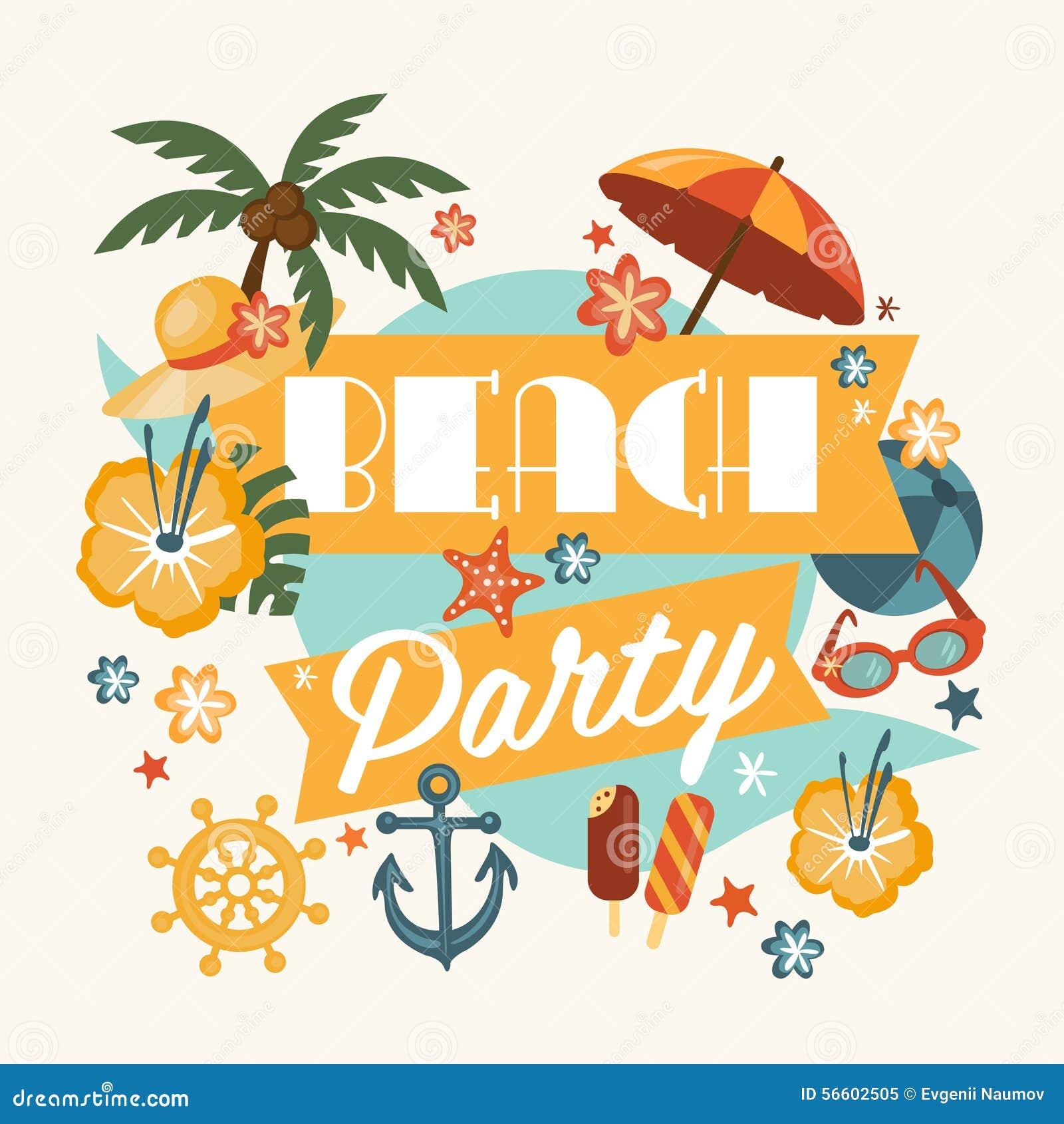 Beautiful Beach Party Design Stock Vector - Image: 56602505
