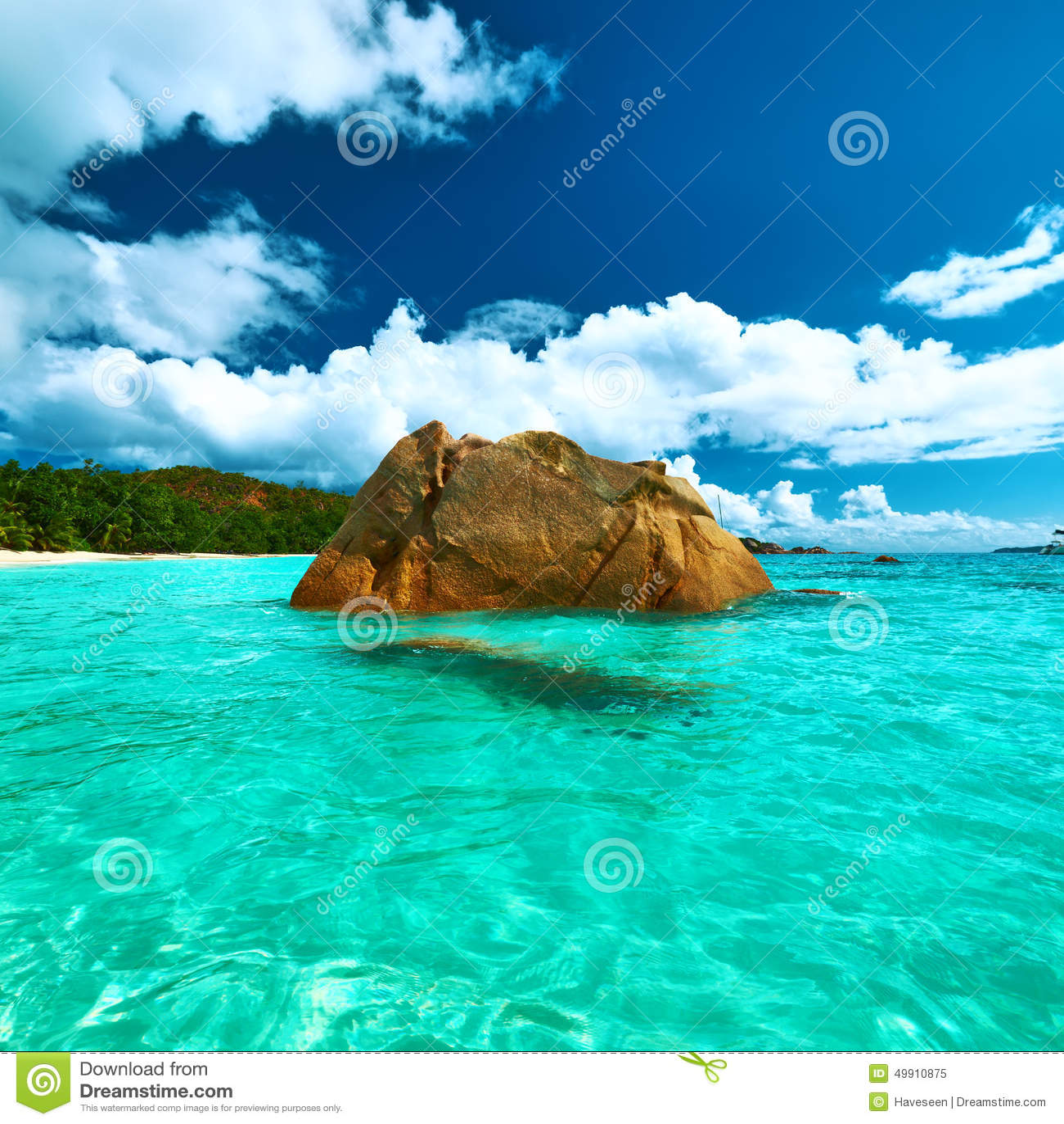 Seychelles Beach: Beautiful Beach At Seychelles Stock Image