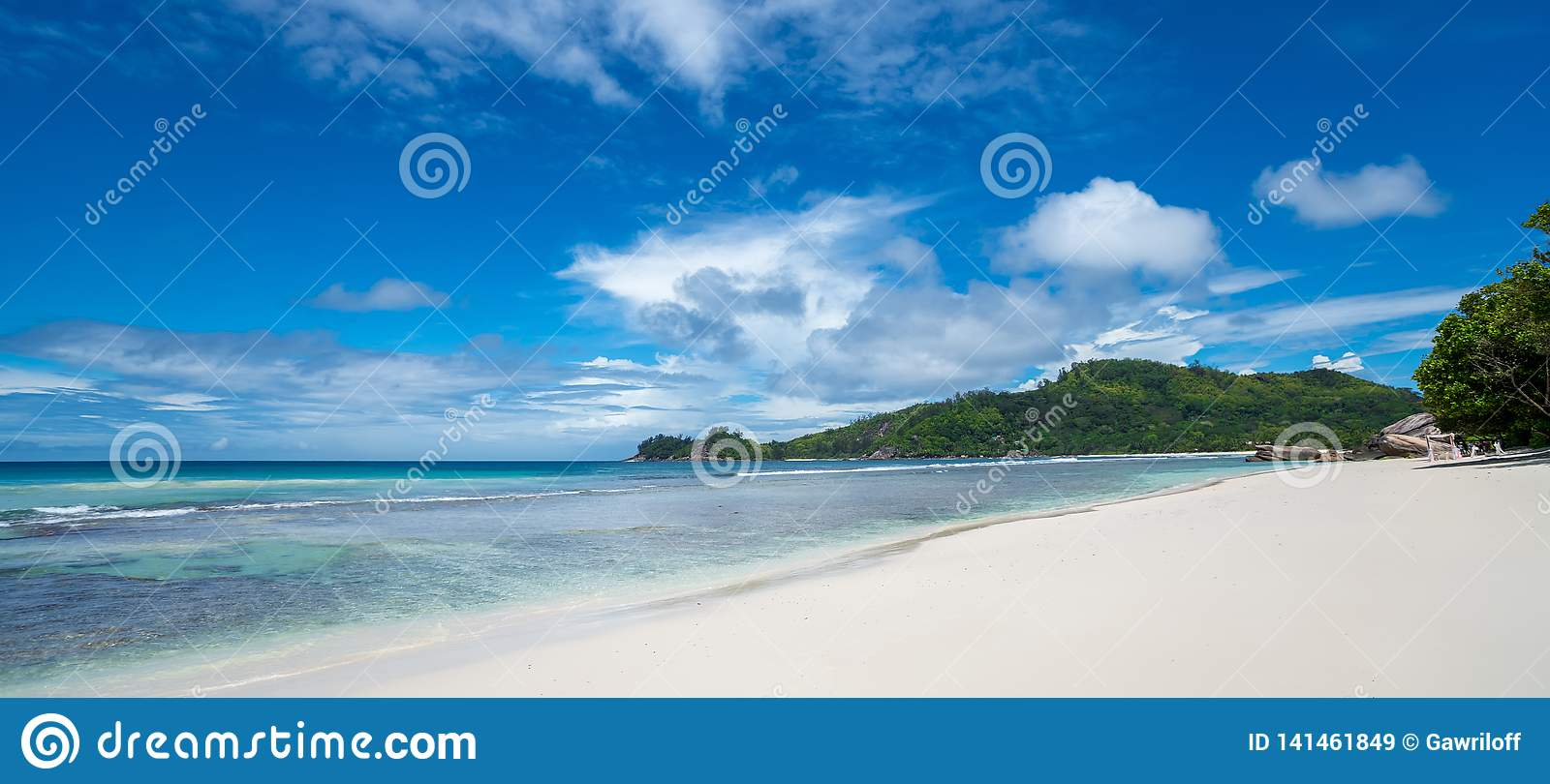 Beautiful beach. View of nice tropical beach with palms around. Holiday and vacation concept. Tropical beach