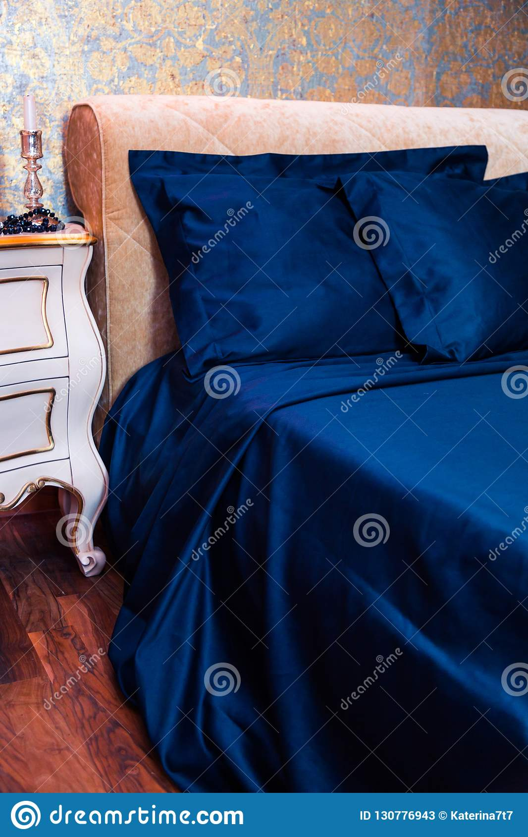 Beautiful Bedding On The Bed With Ornaments And A Bedside Table Stock Image Image Of Background Interior 130776943