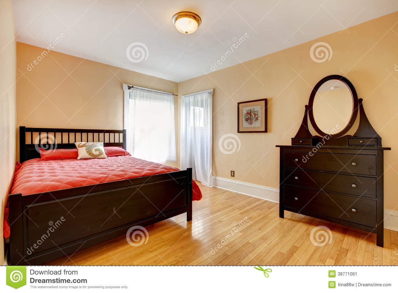 beautiful bedroom with dark brown furniture stock image - image