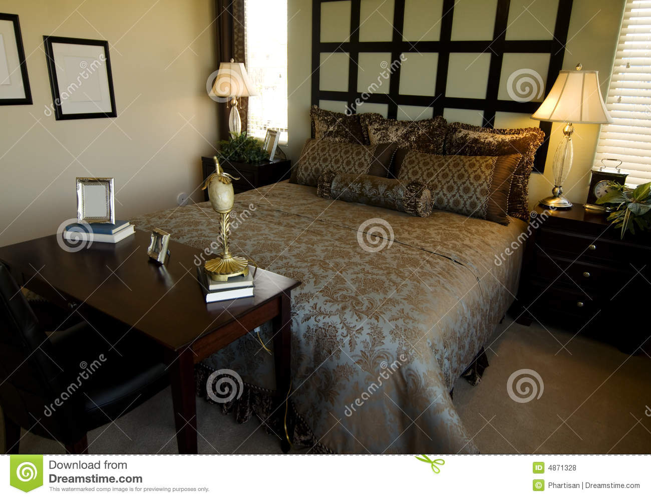 Beautiful bedroom interior design royalty free stock for Beautiful bedroom interior
