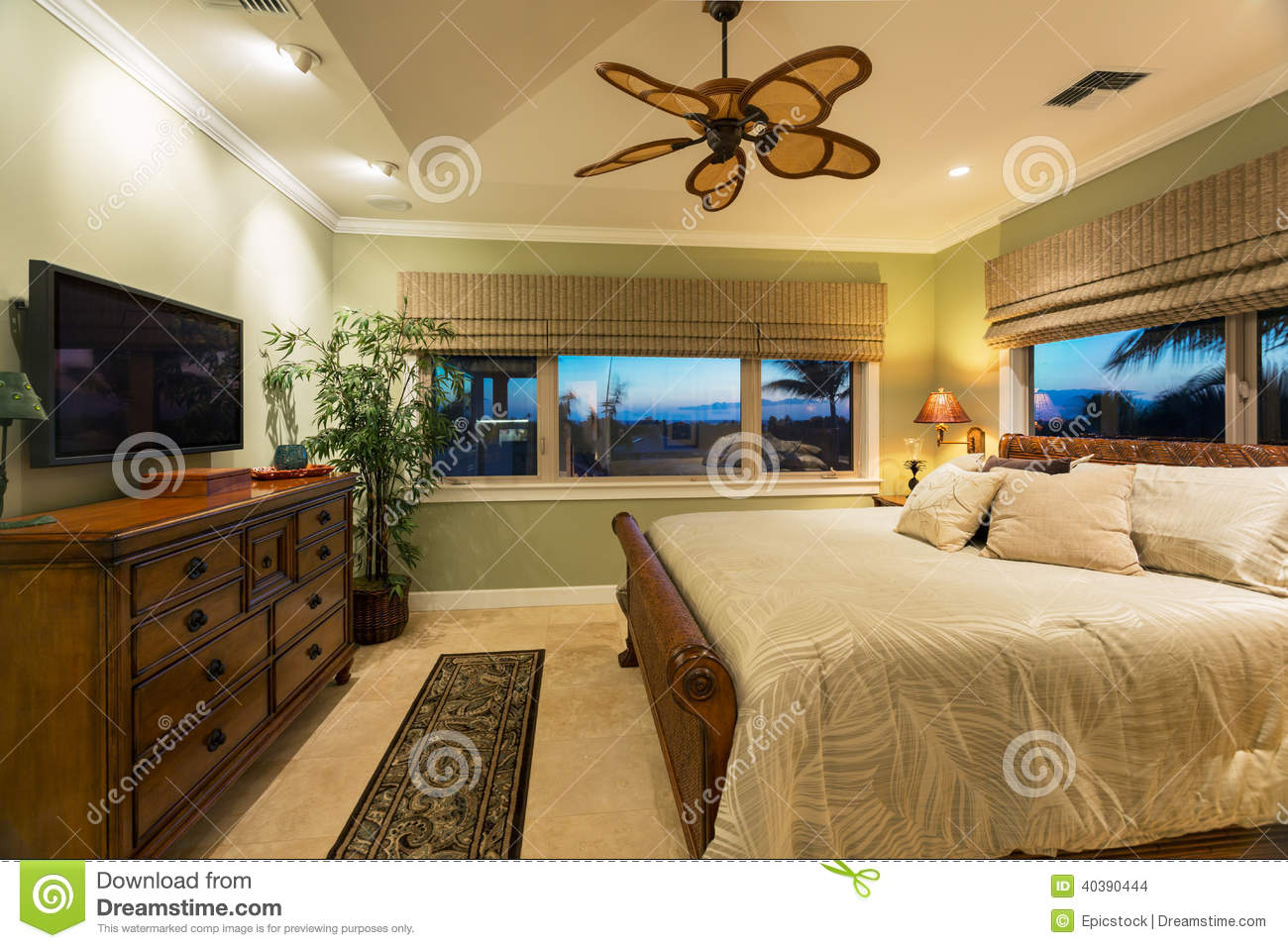Beautiful bedroom interior in new luxury home stock photo for Beautiful bedroom interior