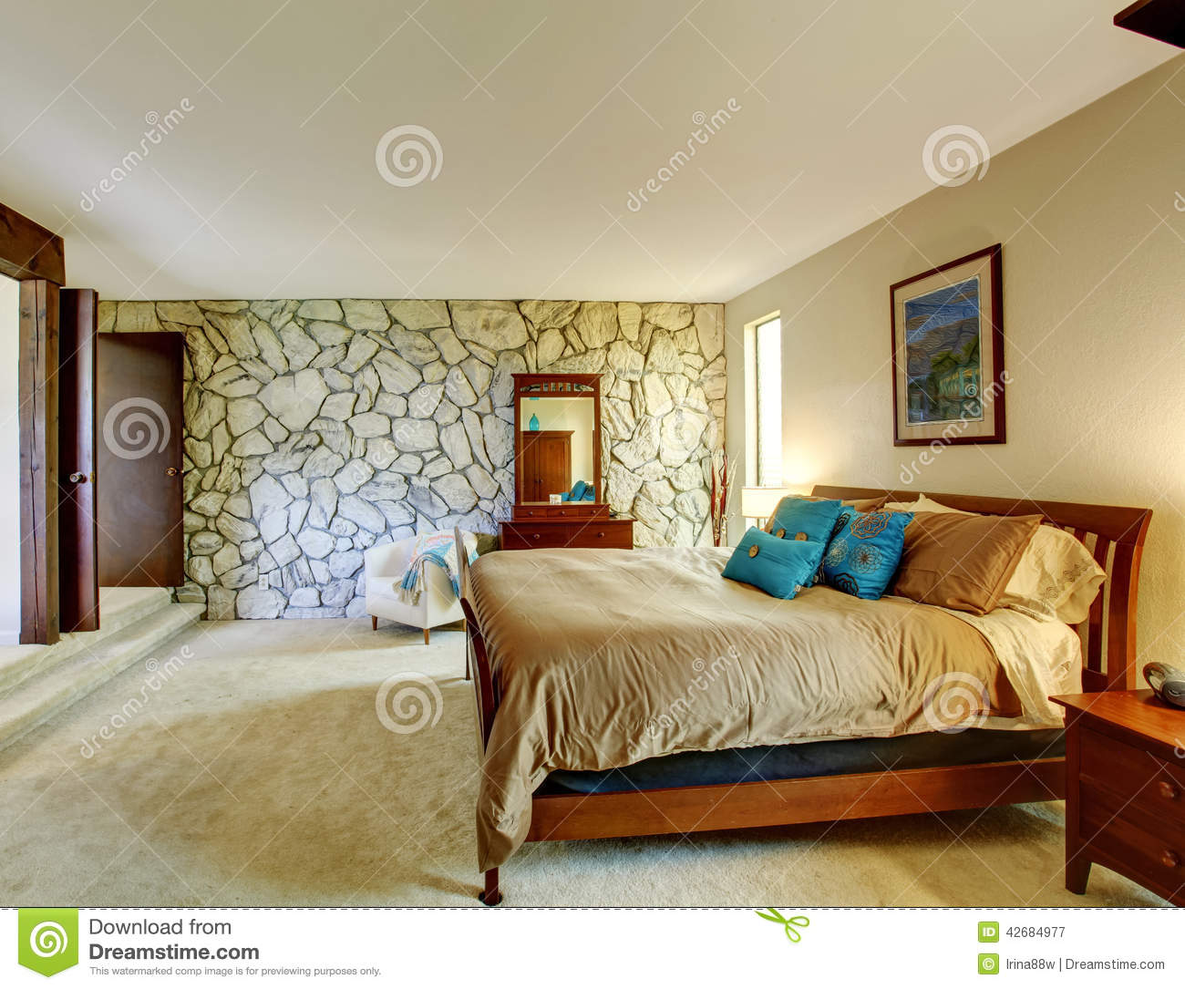 Beautiful Bedroom Interior With Rock Wall