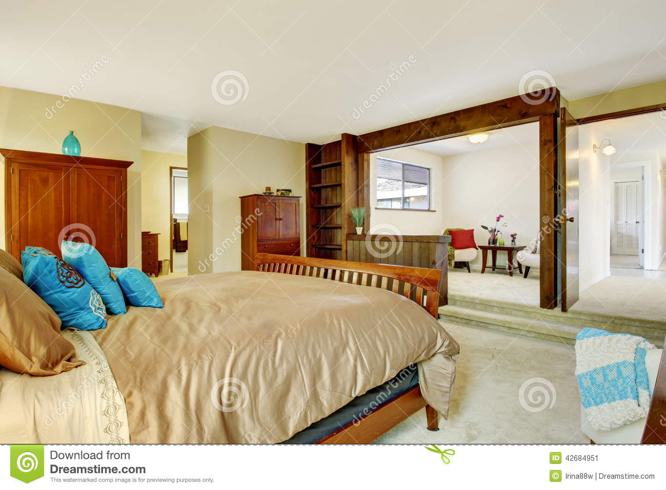 Coin Chambre Dans Petit Salon beautiful bedroom interior with sitting area stock image