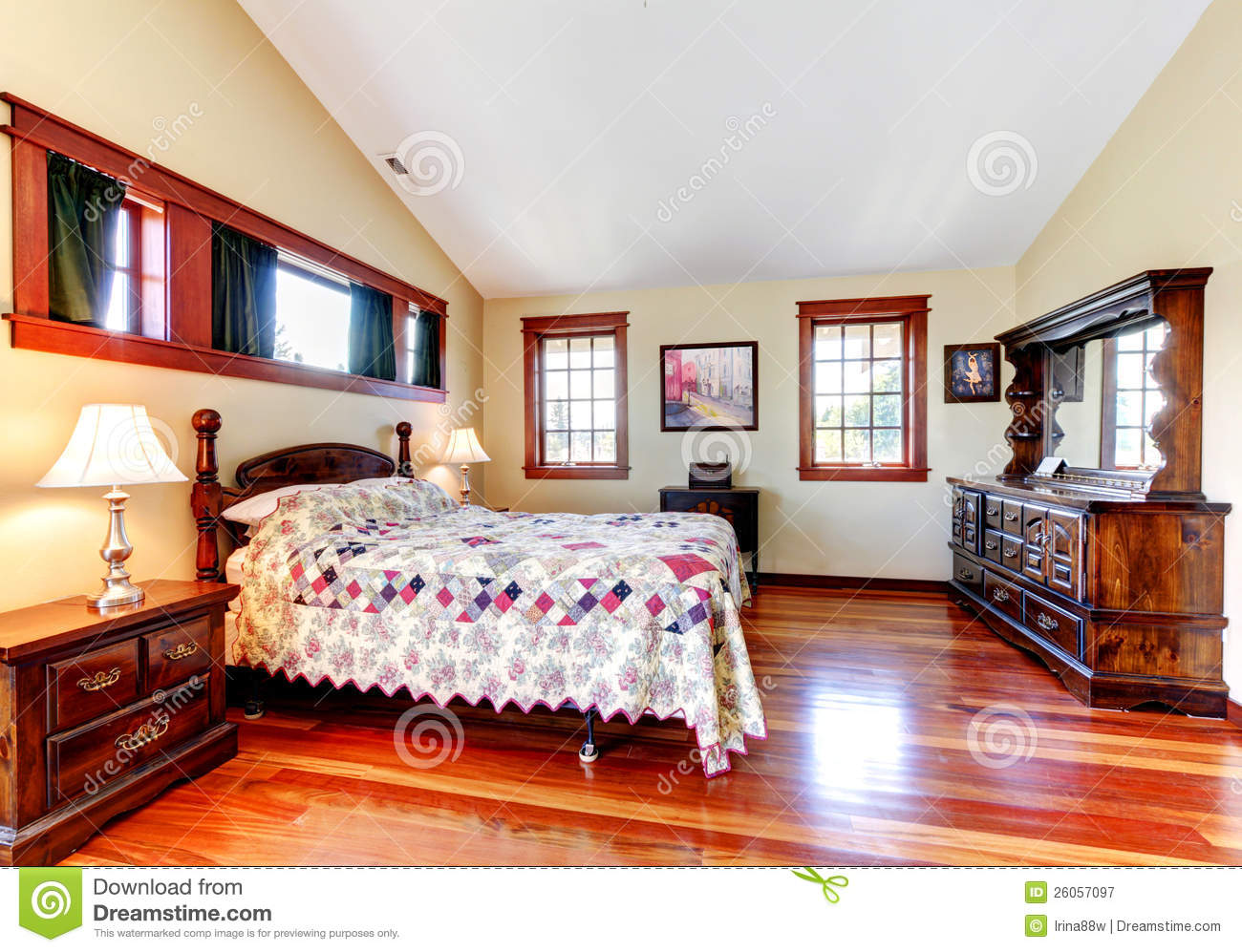 Beautiful bedroom interior with wood royalty free stock for Beautiful bedroom interior