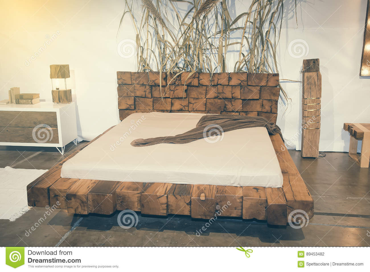 Beautiful Bedroom With Wooden Bed At Furniture Fair 2 Editorial Photography Image Of Lounge Hotel 89453482