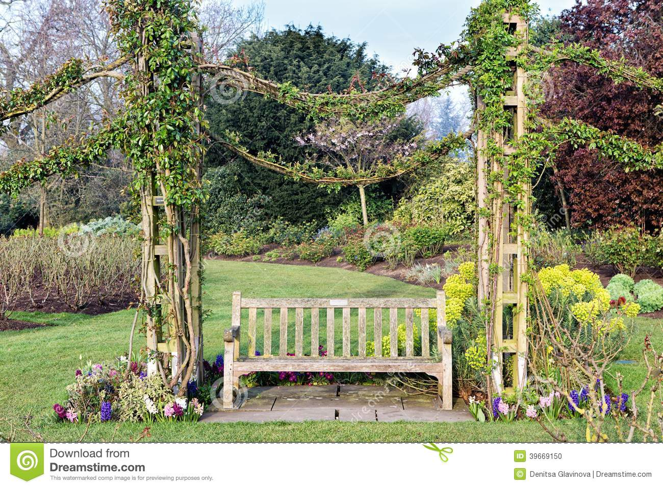 Beautiful Bench In A Park Stock Photo Image Of Nature