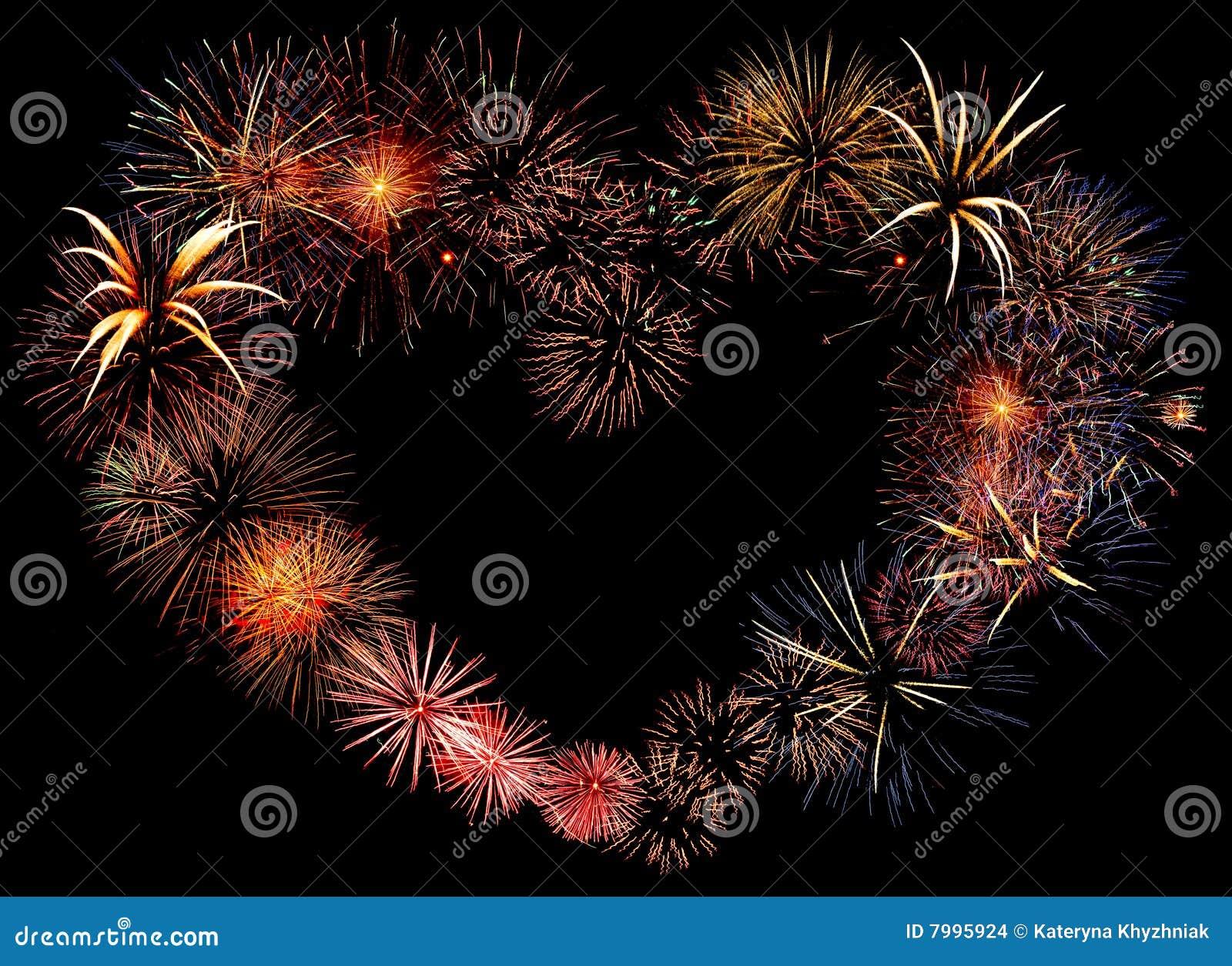 Beautiful Big Firework Heart Stock Images Image 7995924
