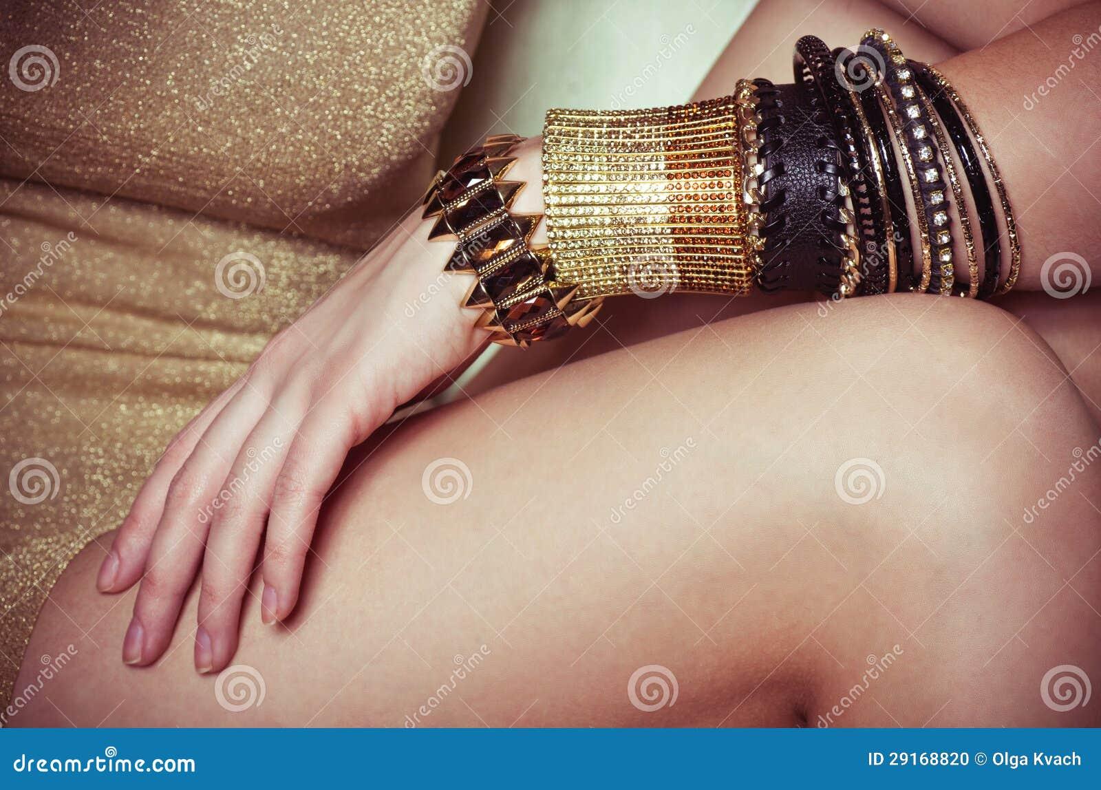 Beautiful Bijouterie Bangles On Hand. Stock Photo - Image of ...